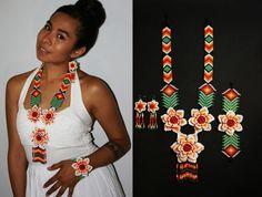 Exuberante de Huichol de joyería joyería mexicana joyería