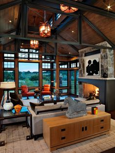 Eclectic Home ceiling designs living room Design Ideas, Pictures, Remodel and Decor Colorado Mountain Homes, Colorado Homes, Colorado Mountains, Architecture Design, Farmhouse Architecture, Steel Frame House, Family Room Design, Contemporary Interior, Great Rooms