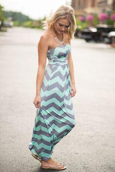 NanaMacs Boutique - Mint Delicacy Chevron Print Maxi Dress, $39.99 (http://www.nanamacs.com/mint-delicacy-chevron-print-maxi-dress/)