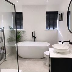 Bathroom With Shower And Bath, Black Bathroom Taps, Taps Bath, Small Bathroom Suites, Freestanding Bath With Shower, Modern Bathroom Design, Bathroom Interior Design, Bathroom Inspiration, Bathroom Ideas