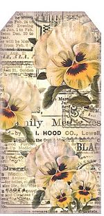 The Vintage Moth..: Pansies on newsprint - bookmark or tag