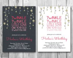 Twinkle Twinkle Little Star Birthday Party Invitation // Printed or Digital (FREE SHIPPING!)