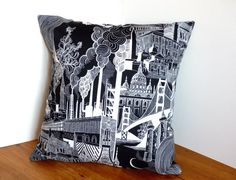 Black and White Industrial Cityscape Print by FudgeandPoppy, £10.00