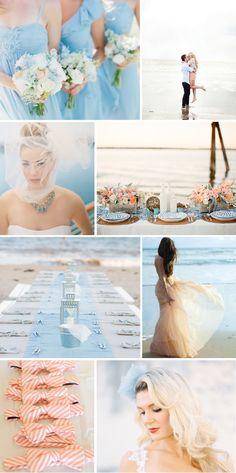 peach + blue beach wedding