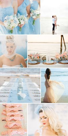 blue and peach beach chic wedding inspiration board | Bridal Musings