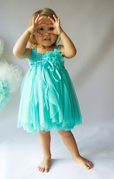 Teal Baby Tulle Dress with Empire Waist and Stretch by AylinkaShop