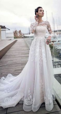 fd4fa03684b A Line Wedding Dress With Sleeves
