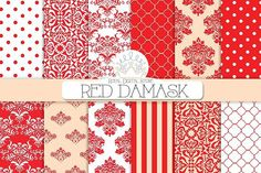 RED DAMASK digital paper damask digital paper damask background red damask red background red digital paper damask scrapbook paper damask scrapbook digital damask digital scrapbooking red and white damask pattern damask papers Paper Clip Art, White Damask, Textures Patterns, Damask Patterns, Quatrefoil, Red Background, Red Stripes, Scrapbook Paper, Pattern Design