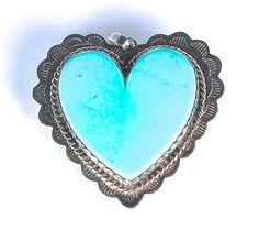 Joan Slifka Turquoise Heart Sterling Angel Necklace Reversible Pendant Charm