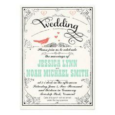 coral & mint vintage wedding inviatations | Coral And Mint Wedding Invitations, 129 Coral And Mint Wedding ...
