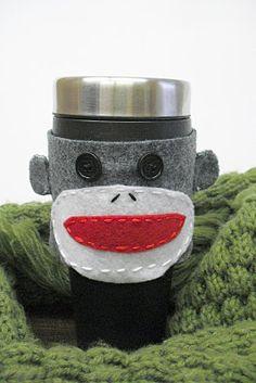 Felt Sock Monkey Mug Cozy - tutorial with pattern