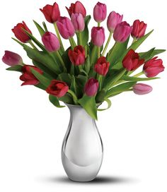 """Pink and red tulips mean """"perfect love"""" today; send her your love with """"Sweet Surrender Bouquet"""" Red Tulips, Tulips Flowers, Fresh Flowers, Avas Flowers, Tulip Bouquet, Flower Bouquet Wedding, Bouquet Flowers, Types Of Tulips, Anniversary Flowers"""
