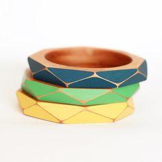 Geometric Wooden Bangle Small by GwynethHulseDesign on Etsy