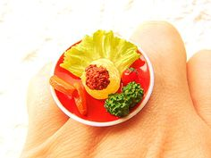 Food Ring Lunch Salad Miniature Food Jewelry by SouZouCreations, $12.50