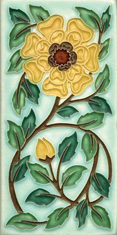 Tudor Rose in Light Blue, Motawi Tile