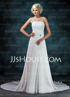 Wedding Dresses - $126.99 - A-Line/Princess Sweetheart Chapel Train Chiffon Wedding Dress With Ruffle Beadwork Sequins (002011452) http://jjshouse.com/A-Line-Princess-Sweetheart-Chapel-Train-Chiffon-Wedding-Dress-With-Ruffle-Beadwork-Sequins-002011452-g11452