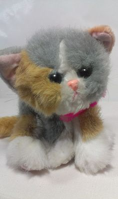 """1992 Tyco Kitty Kitty Kittens Calico Purr Pink Bow Stuffed Plush Rattle Cat 6""""  #Tyco"""