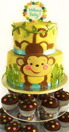 #1 for drews 4th birthday Monkey cake