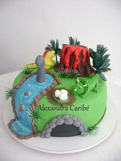dinosaur-birthday-cake-boy-party-dessert-table