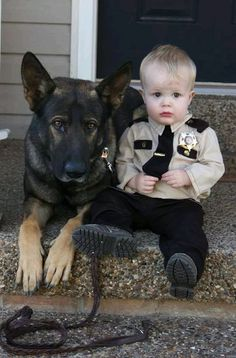 A German Shepherd and his boy <3