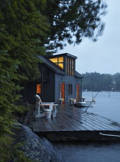 A lake house at dusk.