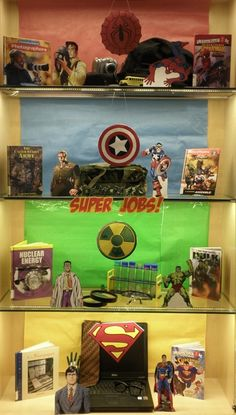 Super Jobs! | Library Book Display.  This is so cool especially with the kids loving comics these days.