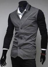 Chaqueta de algodón con escote Ilusión de color-blocking - Milanoo.com