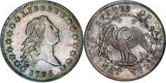 FLOWING HAIR HALF DOLLARS (1794-1795).SPECIFICATIONS:  Designer: Robert Scot  Diameter: 32.5 millimeters  Metal content: Silver - 89.2% Copper - 10.8%  Weight: 208 grains (13.5 grams)  Edge: Lettered - FIFTY CENTS OR HALF A DOLLAR (various ornaments between words)