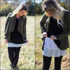 Shirt Extender- White Lace Wardrobe foundation MUST-HAVE! Add style and versatility to your wardrobe with this white lace top extender, that adds length to thos