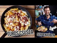 Kevés magyar embert ismerünk, aki visszautasítana egy jó túrós csuszát. Most mutatunk egy olyan receptet, aminek még azok se tudnának ellenállni, akik alapból inkább az olaszos tésztás kajákat preferálják. Pirított tészta, pirított szalonna pörc, tejföl, túró és pirospaprika. Úristen, de finom!!!! Hungarian Recipes, Hungarian Food, Lidl, Bacon, Dinner Recipes, Pork, Turkey, Vegetarian, Beef