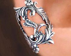 Art Nouveau Stream ear cuffs Sterling Silver by RingRingRing