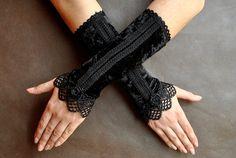 Élégante GOTHIC Lolita Burlesque Glamour longs gants noir velours et guipure, mitaines fingerless goth