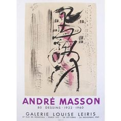 1960 Andre Masson Exhibition Poster, 80 Dessins (255 CAD) ❤ liked on Polyvore featuring home, home decor, wall art, purple home decor, abstract wall art, purple wall art, calligraphy drawing and song lyric posters