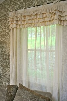 Curtains from Lowe\'s drop cloths -- sounds perfect for our 3 season ...