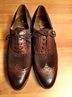 http://chicerman.com  blackshoeblog:  Carmina Wing Tip Oxford 813-001 in Calf and Suede  love them !  #menshoes