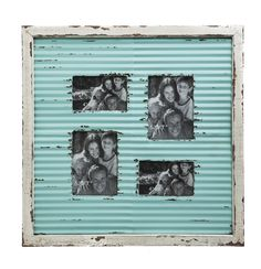 Features: -Wooden white frame with distressed blue corrugated metal. -Material: 60% Wood (Fir + MDF) /30% Iron / 10% Glass. Style: -Vintage. Color: -Blue/Gray. Material: -Glass/Manufactured wood/