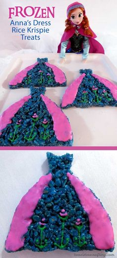 Anna's Dress Rice Krispie Treats are decorated to look like Princess Anna's iconic blue and pink dress and are great for a Frozen Birthday Party. They will be a hit at your Frozen Party and we have the step by step directions you'll need to make them for your own Frozen Party. Follow us for more fun Frozen Party Ideas.: