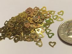20 metal gold heart nail decals 5 mm S8 by petrascrafts64 on Etsy