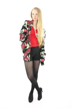 80s 90s Floral Blazer Jacket Black Red Rayon by ScarletFury Available for purchase, $48 https://www.etsy.com/listing/215000244/80s-90s-floral-blazer-jacket-black-red? Women's vintage indie fashion clothing street style outfit for fall dates going out movies