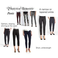 Theatrical Romantic Pants by winter-belle on Polyvore featuring Robert Rodriguez, Eileen Fisher, Elie Tahari, Diane Von Furstenberg, Paige Denim, White House Black Market, Theory, pants, kibbe and theatricalromantic