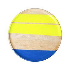neon yellow and blue wood plate