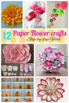 12 Step By Step DIY Papers Made Flower Craft Ideas for Kids. How to make paper flowers, Craft ideas for giant crepe realistic looking paper flowers. Which are easy for kids too with tutorial videos.