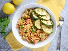 Spanish Chickpeas with Rice and Lemon Pepper Zucchini - BudgetBytes.com