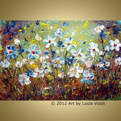 Original Flowers Painting Modern Abstract Oil Artwork Daisies and Forget Me Not 30x20, textured