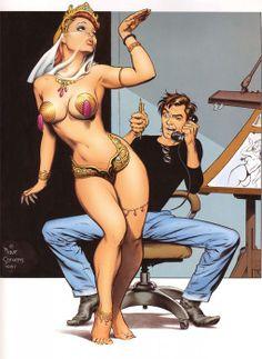 Dave Stevens at work. Art by Dave Stevens Comic Book Artists, Comic Book Characters, Comic Artist, Comic Books Art, Long John Silver, Dave Stevens, Comic Art Girls, Illustrations, Pin Up Art