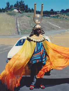 Apropos Of Nothing, Here Is A Photo Of Sun Ra Chilling Roadside Next To His Pinto In 1972