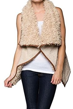 Women's Fashion Vests - Womens Wool Blended Faux Fur Open Vest with Pockets * Check out this great product.