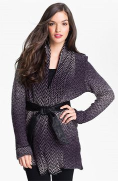 Beatrix Ost Nordstrom Herringbone Belted Wrap Sweater/Coat Cardigan #NordstromBeatrixOst #Cardigan