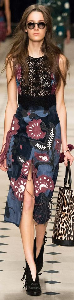 Burberry Prorsum F-15 RTW: lace top, floral skirt with fringe, leopard bag.