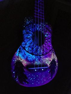 Learn how to play the acoustic electric guitar with all of these easy to understand guidelines. Trying to play a guitar is not difficult to learn, and might open numerous musical doorways. Ukulele Instrument, Ukulele Art, Guitar Art, Cool Guitar, Acoustic Guitar, Baritone Guitar, Guitar Tattoo, Music Instruments, Painted Ukulele